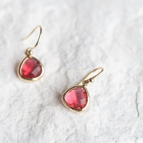 Simulated Red Ruby Drop Earrings