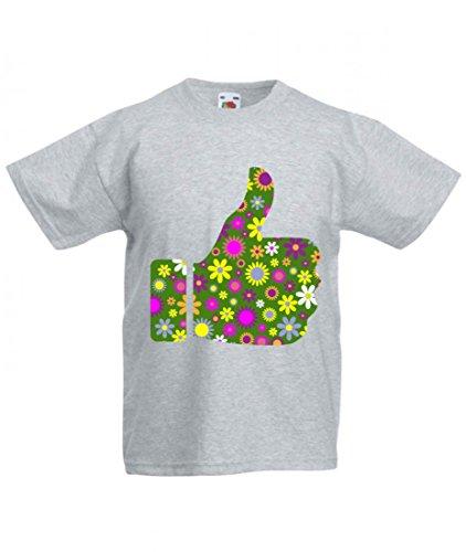Camiseta retro de flores de decoración de ZIER, pulgar artificial, de alta calidad, agradable al tacto, como estimulador, voz, consola, gesto para hombre, mujer, niños, 104 – 5 XL gris Mujer Gr.: Large