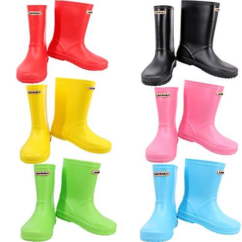 Leopard Boys Girls Non-Slip Waterproof Kids Wellies Wellington Boots - Red UK6 Kids - Unisex Children Motorbike Rain Boots Shoes