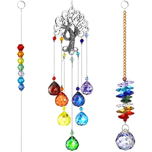 Hemoton Kristall Prismen, Kronleuchter, Sonnen-Sensoren, Baum des Lebens, Ornament, hängende Chakra-Kristalle, Hersteller Regenbogen