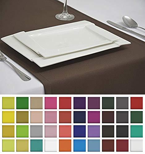 Rollmayer Edle Tischläufer Tischdecke Tischtuch Tischwäsche Pflegeleicht Kollektion Vivid (Braun 28, 40x180cm)