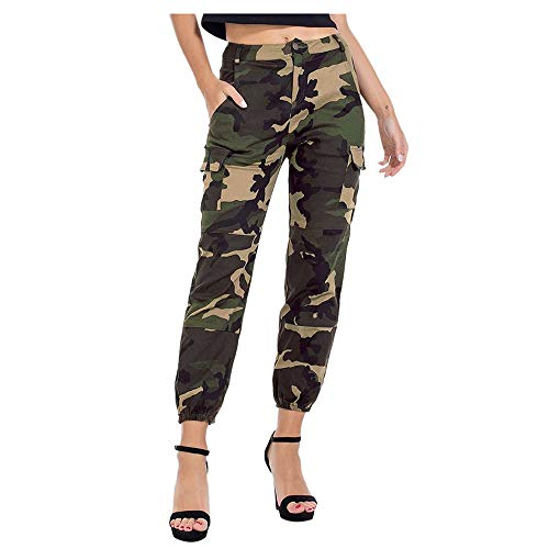 Aniywn Women's High Waisted Slim Fit Camouflage Camo Jogger Pants Cargo Leisure Pants with Pocket