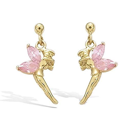 Tinkerbell Earrings Crystal Yellow Gold GF 750 Pink