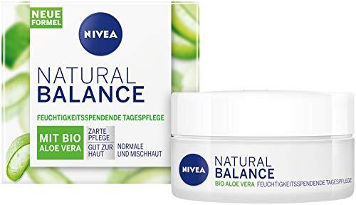 NIVEA Natural Balance feuchtigkeitsspendende Tagespflege (50 ml), Feuchtigkeitscreme mit Bio Aloe Vera, Jojoba- und Mandelöl, Tagescreme für normale und Mischhaut