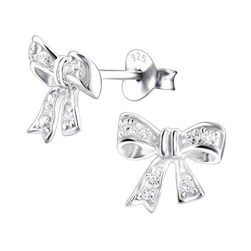 Laimons Damen-Ohrstecker Schleife glanz mit Zirkonia Sterling Silber 925