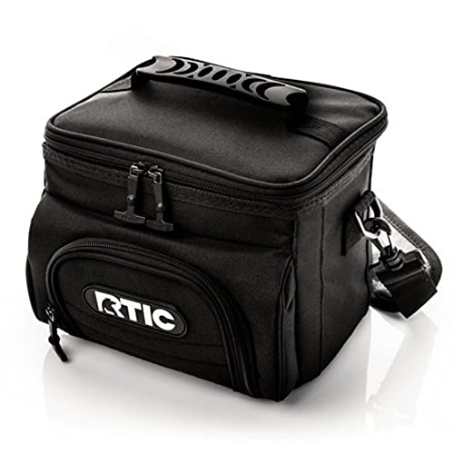 RTIC Day Cooler, Black, 6 Can, Insulated Bag with Zipper
