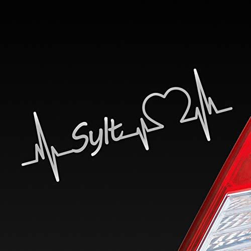 Auto Aufkleber in deiner Wunschfarbe Sylt Herz Puls Insel Island Nordsee Sticker Liebe Love ca. 19 x 7 cm Autoaufkleber Sticker