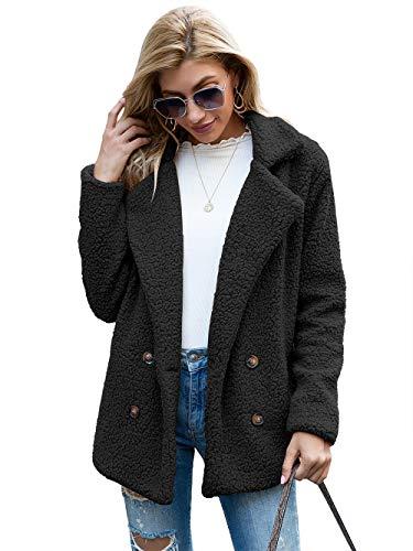 Damen-Wintermantel aus weichem Plüsch, warm, lange Ärmel, Rundhalsausschnitt, lässig, modisch, Schwarz XXXL