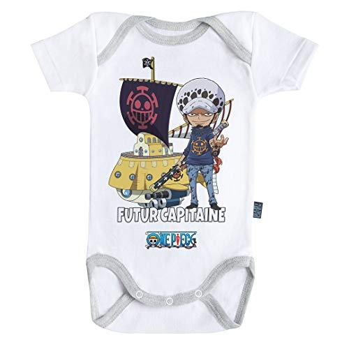 Baby Geek Futur Capitaine Law - One Piece ™ - Licence Officielle - Body Bébé Manches Courtes (12-18 Mois)
