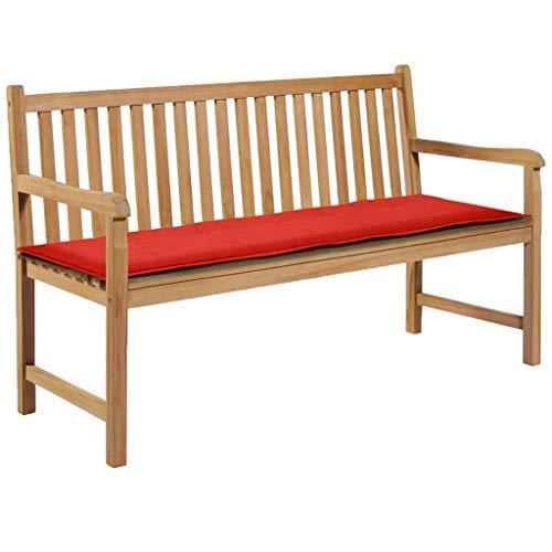 Goliraya Loft BK Cojines para Bancos de jardín colchoneta Asiento Bancos, Cojín para Banco de jardín Color Rojo 150 x 50 x 3 cm