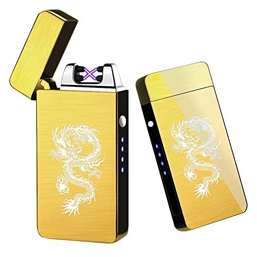 Arc Lighter, Smart Electric Lighter, USB Rechargeable Lighter Windproof Flameless Lighter Lightweight Plasma Lighter for Fire,BBQs,Fireworks ,Candle,Camping - Outdoors Indoors (Gold)
