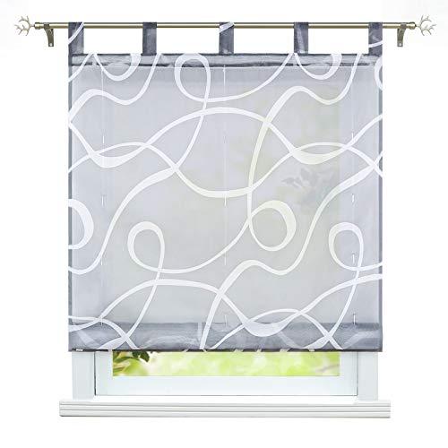 ESLIR Raffrollo mit Schlaufen Transparente Raffgardinen Schlaufenrollo Modern Gardinen Küche mit Strichen-Muster Grau BxH 140x150cm 1 Stück