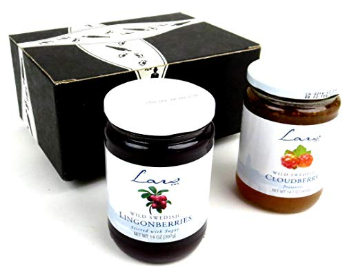Lars' Own Wild Swedish Preserves 2-Flavor Variety: One 14 oz Jar Each of Cloudberry and Lingonberry in a BlackTie Box (2 Items Total)