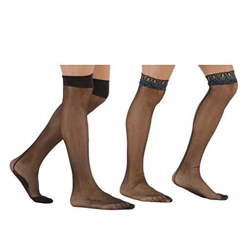 Generic 2 Par Sissy Dos Homens Malha Preta Meias Meias-calça Meias Elásticas