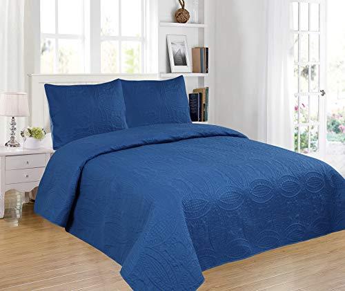 Foren Tex - Colcha Boutí, (S-2675), Reversible, Azul Marino, Cama 90 cm, 180 x 260 cm, 1 Funda cojín 50 x 70 cm, 220 gr/m2 (Relleno Ligero 80gr/m2)