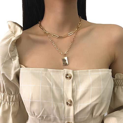 BNMY Collares De Oro para Mujer, Colgante Cuadrado, Aleación Simple, Cadena De Doble Clavícula, Collar De Calle Salvaje, Joyería para Adolescentes,Oro