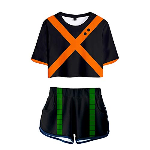 My Sky 2 Piece Boku No Hero Outfits for Women Crop Top and Short Pants Sets Black/Orange