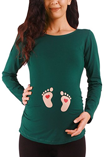 M.M.C. Fußabdrücke Baby mit Herz - Lustige witzige süße Umstandsmode Umstandsshirt mit Motiv für die Schwangerschaft Schwangerschaftsshirt, Langarm (Dunkelgrün, X-Large)