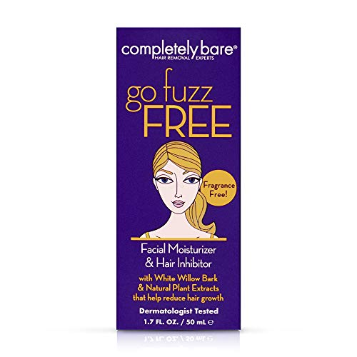 Completely Bare Go Fuzz Free Facial Moisturizer & Hair Inhibitor- Anti-Aging, All Natural Vitamin E, Willow Bark & Sunflower Oil, Slows Hair Regrowth, Cruelty-Free & Paraben-Free, Vegan Formula 1.7 oz