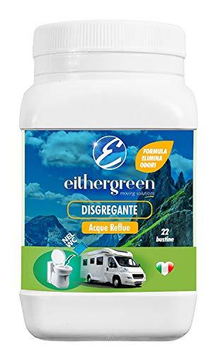 Eithergreen - DISGREGANTE elimina odori per acque reflue - per WC di Camper, Caravan e Roulotte - 22 bustine da 30g