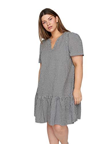 Zizzi Damen Große Größen Kariertes Baumwoll Kleid mit 3/4 Ärmeln Gr 42-56