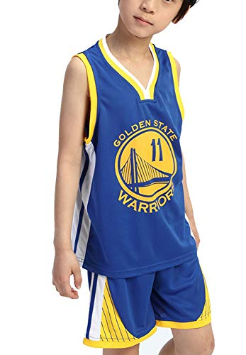 #11 Kinder Basketball Trikot Set 11# Warriors Sport Ärmellos Basketball Shorts Sommer Trikots Basketball Uniform Top Short XL blau