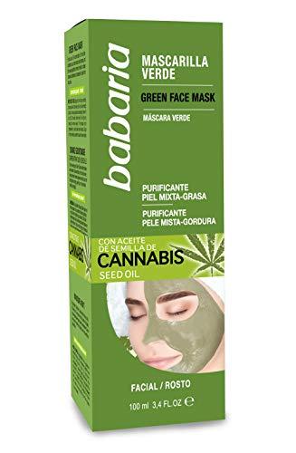 Babaria Cannabis Mascarilla Verde Facial Piel Mixta/grasa, Blanco, 100 Mililitro