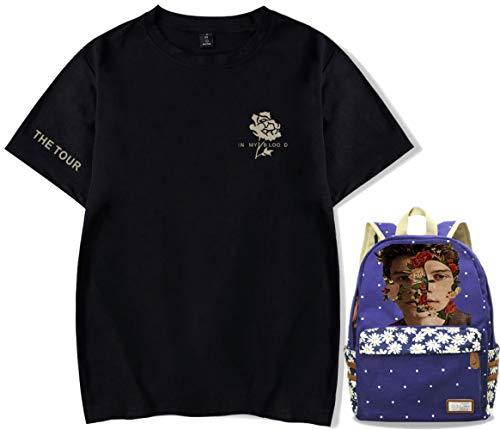 Impresión Manga Corta Shawn Mendes Mochila Regalo Música Camiseta Campus Logo Colegio Comienza Bolso Negro Azul Estilo/A/L