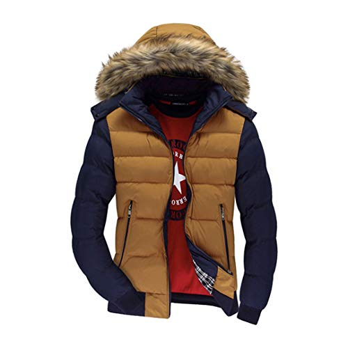Cappotti Spessi da Uomo Invernali con Cappuccio in Piumino Parka Caldo Giacche Moda Uomo Soprabito Yellow Blue L