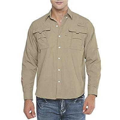 Men's UPF Long Sleeve Shirt, Loose Fit Outdoor Hiking Fishing Safari Quick Dry Lightweight UV Sun Protection Shirts (5052 Khaki M)