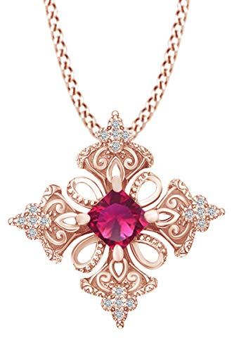 AFFY Princess Simulated Ruby & Spakling White Cubic Zirconia Irish Celtic Cross Pendant Necklace 14k Rose Gold Over Sterling Silver with 18' Chain