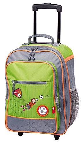 sigikid, Jungen, Kindergepäck Trolley Fußballer, Kily Keeper, 40x30x17 cm, Grün/Grau, 24549