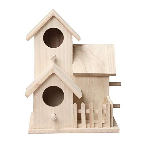 bird houses Gotd Clearance Wooden Bird Houses for Outside,Wooden Nest DOX Nest House Bird House Bird Box Wooden Box Craft DIY with Hanging (B,20.5X15.5)