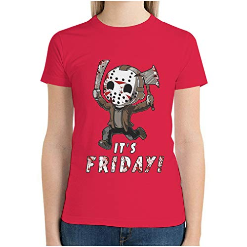 Halloween Horror Before Christmas Jason TT's Friday Short Sleeve T-Shirt Workout Tee Ultra Cotton Crew Neck Comfort Classics Dry-Fit Moisture Wicking for Youth & red1 XL