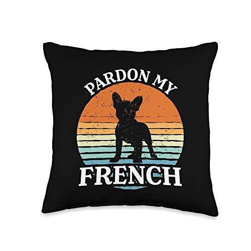 Vintage French Bulldog Frenchie Designs Pardon, Vintage French Bulldog Frenchie Throw Pillow, 16x16, Multicolor