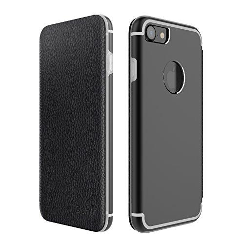 OKCS Binli Vera Pelle iPhone 7 Flipcase Protezione Case Cover Bumper Custodia TPU Pellicola - en Nero