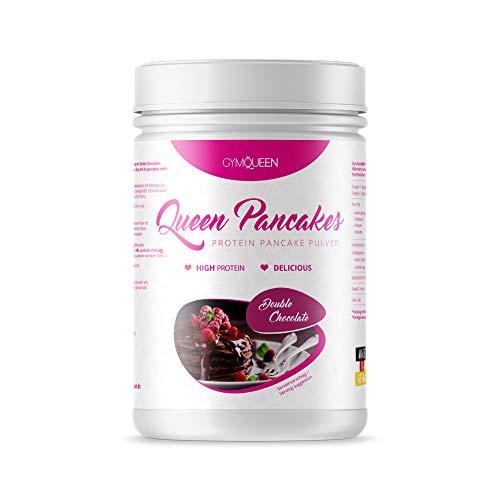 GymQueen Protein Pancakes 500g | Backmischung für leckere Protein Pfannkuchen und Waffeln | Zuckerarm & wenig Fett | Pancake Mix mit 51% Eiweiß | einfach und schnell zubereitet | Double Chocolate