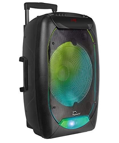 "Sytech SYXTR79BT- Altavoz Portátil Profesional 15"" ""Techno x L"" Bluetooth Trolley Inalámbrico 250 W, 2200 mAh, Función TWS, Color Negro"