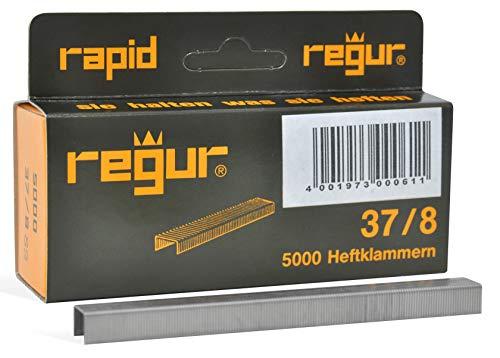 REGUR Typ 37 V2A Feindraht-Klammern - 5.000 Stück in der Länge 37/8 mm – Edelstahl-Heftklammern zum Befestigen von Stoffen, Leder, Textilien sowie zum Basteln und Dekorieren