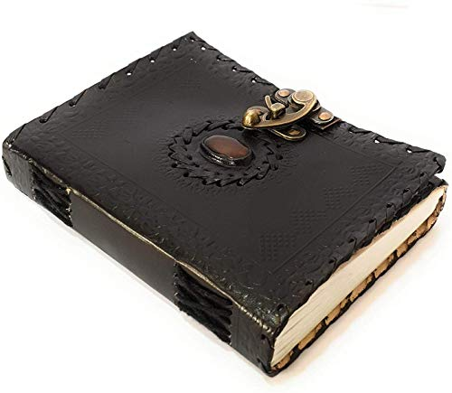 ININDIA Handmade Pure Leather Diary Leather Journal for Men and Women -Office Home Daily Use, Poem Writing with Lock Diary 7 Inches and Luck Stone (Black)