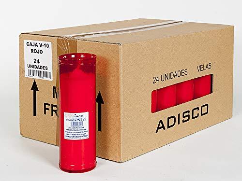 Arcibold Home Caja     24 velones V-10 Rojo. Velas de 55 x 1