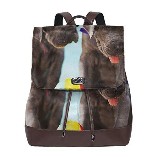 SGSKJ Mochila De Cuero Mujer Bolso Cachorros de gran danés Estudiante Casual Bolsa La Universidad Bolsa De Viaje De Cuero Mochila Mujer