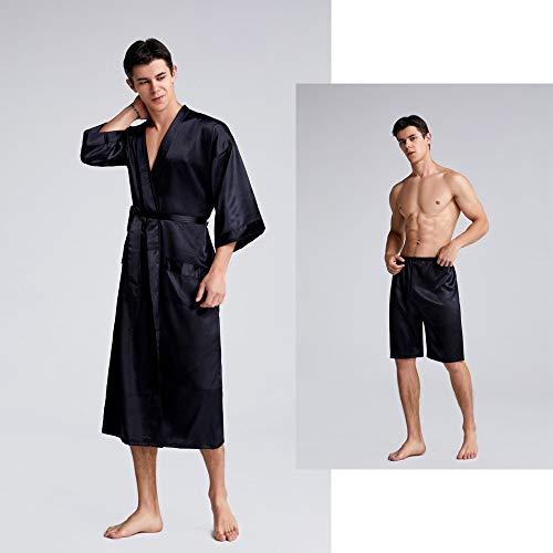 Men's Silk lang gewaad, reverskraag Pure Silk lange mouwen Lichtgewicht Half Sleeve Waffle Kimono Spa Robe met zakken en broek 2 stuks,Black