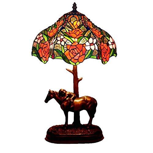 ZDHG Tiffany, bedlampje van gekleurd glas, E27, handgemaakt, tafellamp, bedlampje