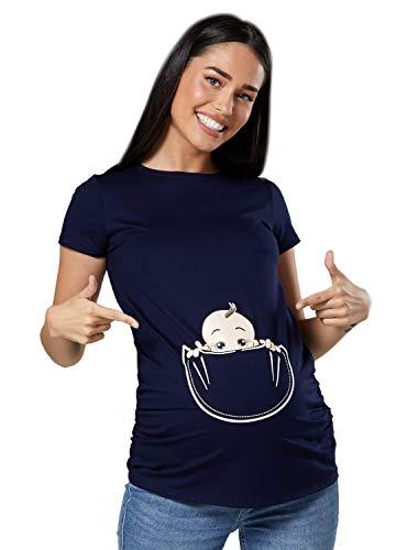 Happy Mama Donna Maglietta Premaman T-Shirt Maglia Bambino in Tasca Stampa. 501p (Marina, IT 42/44, M)
