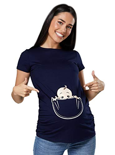 Zeta Ville - Shirt Camiseta Premamá Estampado bebé asomándose para Mujer - 501c (Armada, 36-38, S)