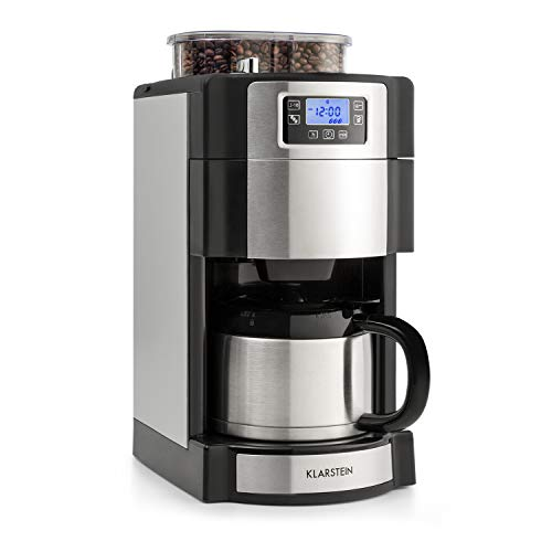 Klarstein Aromatica Nuovo Termo Coffee Maker Built-in Activated Carbon Filter Five-stage Grinder Drip Protection Three Aroma Levels: Light Medium Strong 24-hour Timer 10 Cups Silver