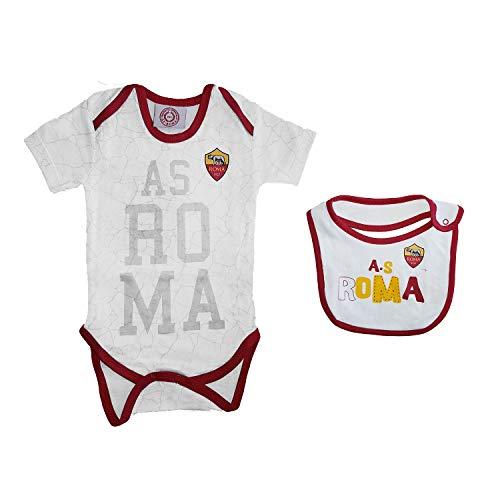 AS Roma Body Neonato Mezza Manica in Cotone + bavetta Prodotto Ufficiale Art. 13708 (18 Mesi, Bianco Allover)