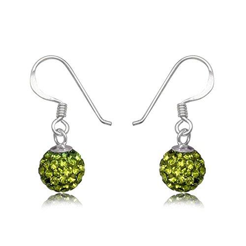 6MM Disco Ball Sterling Silver Dangly/Dangle Drop Hook Earrings for Women/Teenage/Girls - 925 Sterling Silver - Round Silver Earrings - GREEN OLIVINE. 6-GO