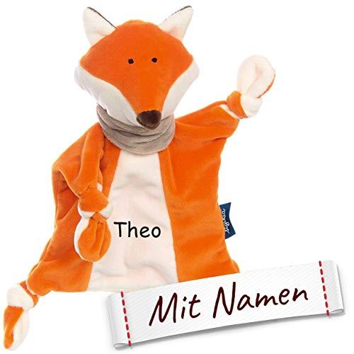 Sigikid Schnuffeltuch Fuchs mit Namen Bestickt, Baby & Kinder Schmusetuch personalisiert, Kuscheltuch Geschenkidee Jungen, Blue, Orange, 42327